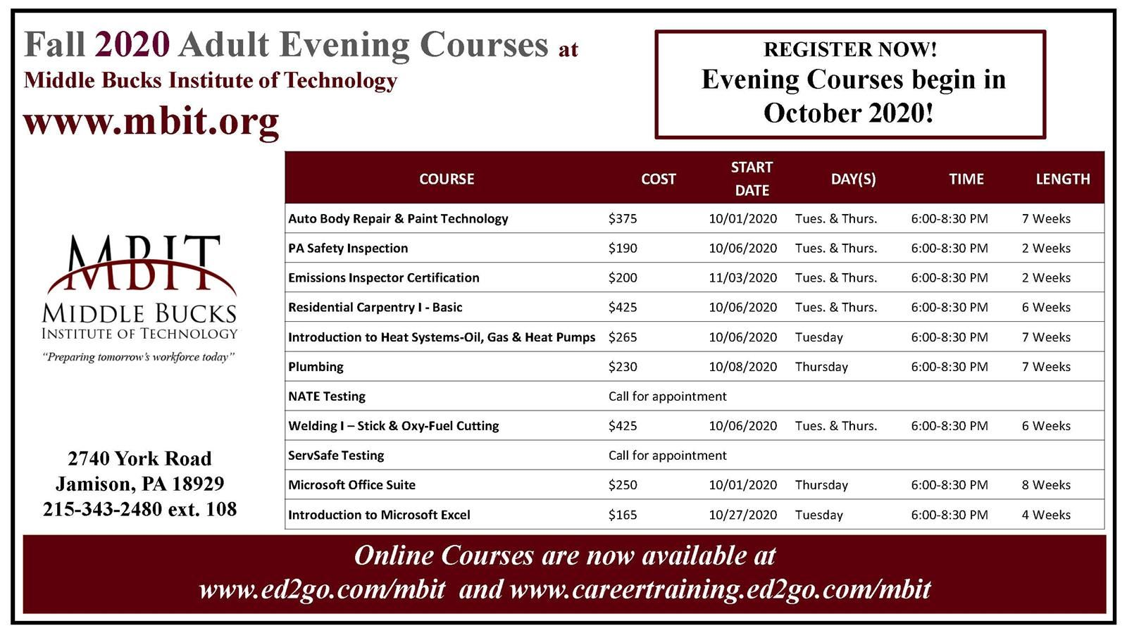 Fall 2020 Adult Evening Courses have been posted