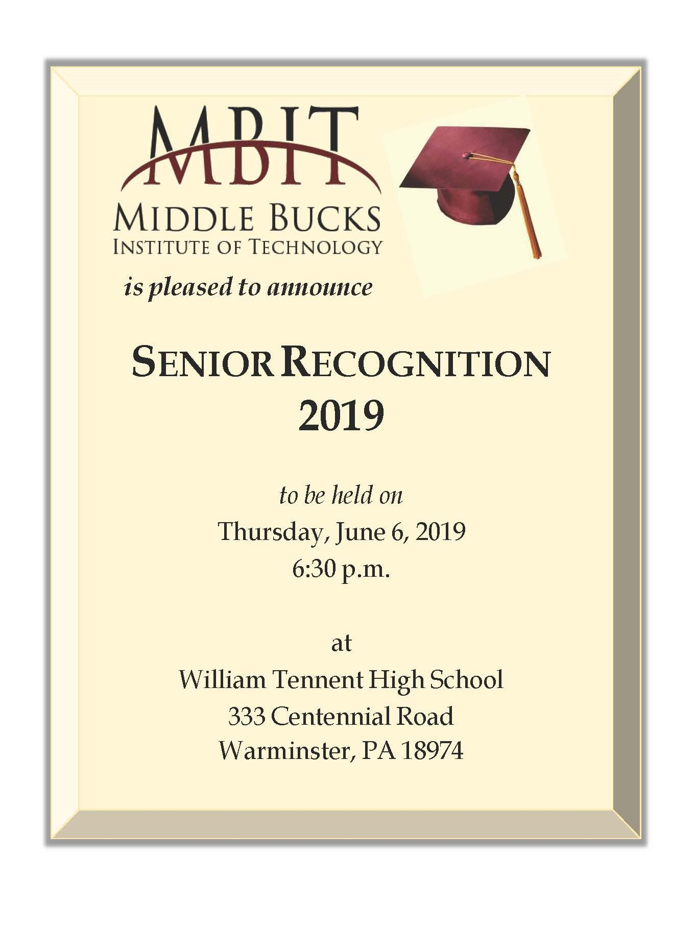 Senior Recognition Information Class 2019