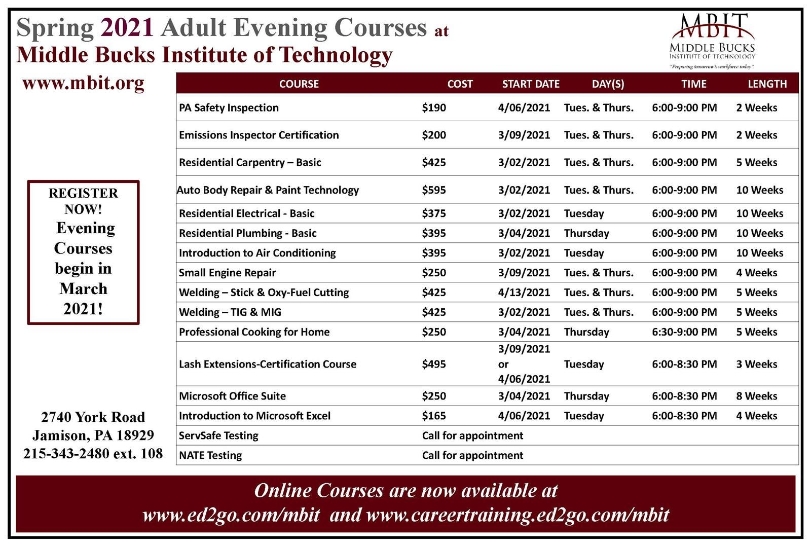 Spring 2021 Adult Evening Courses have been posted